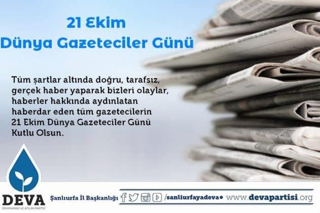 DEVA Partisinden Gazeteciler Günü Kutlaması Urfa Haber