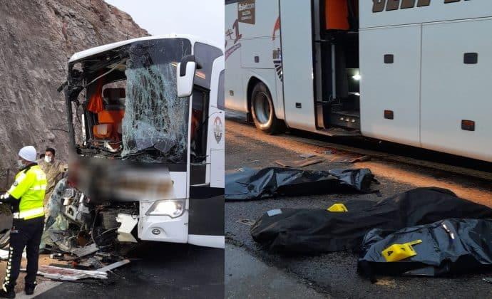 Yolcu otobüsü kaza geçirdi 3 ölü